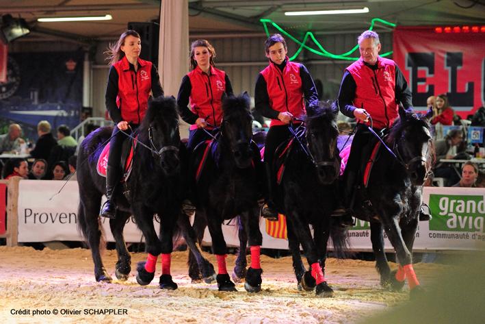 4 chevaux de Merens et leurs cavaliers à Cheval Passion 2014